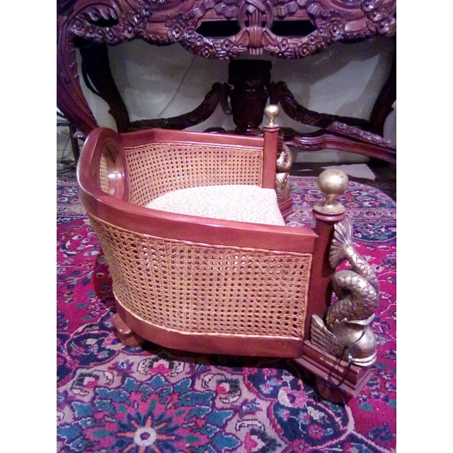 1960s 1960s Traditional Caning Wicker Dog Bed With Cushion For Sale - Image 5 of 8