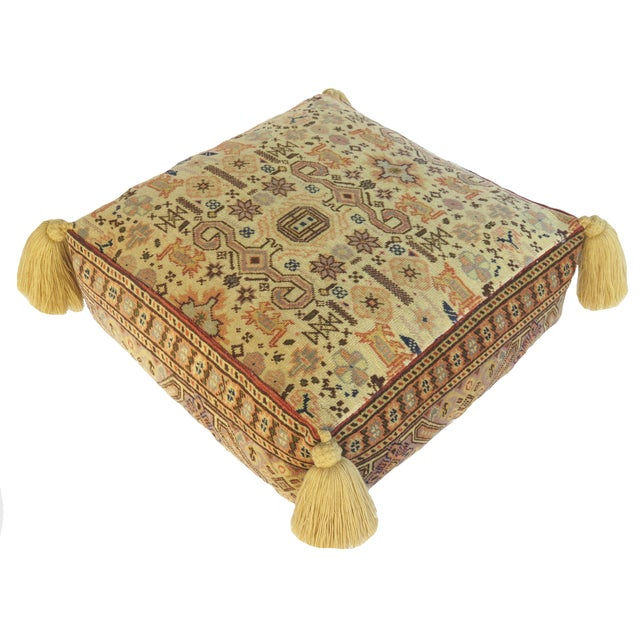 Vintage Turkish Honey Wool Pouf For Sale - Image 4 of 8