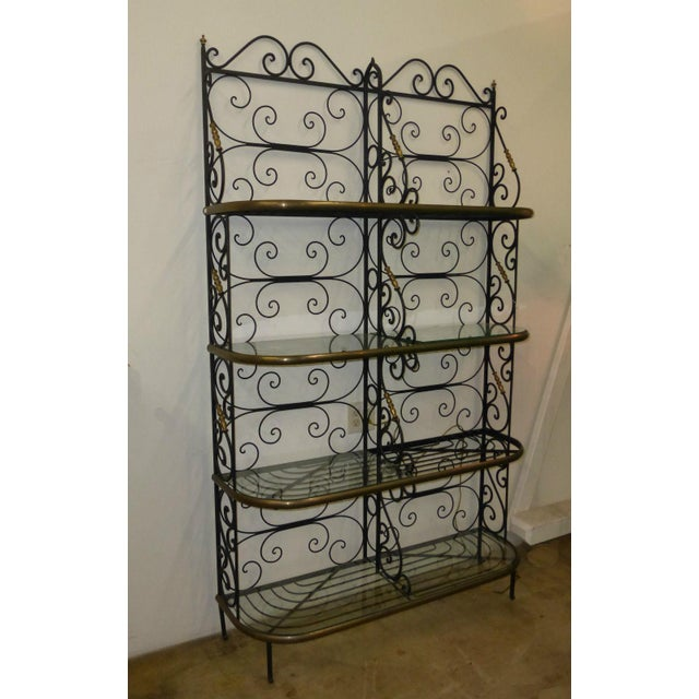 Vintage solid wrought iron baker's rack. Great Vintage Condition, Solid & Firm made from solid wrought iron... very Heavy!...