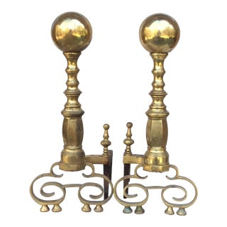 Mid 19th C. Federal Style Wrought and Cast Brass Fireplace Andirons - a Pair For Sale