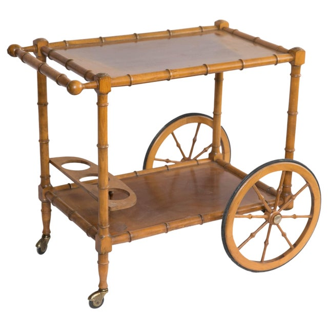 Brown Faux Bamboo Bar Cart For Sale - Image 8 of 8