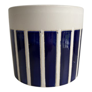 Vintage Ceramic Hand-Painted Blue & White Planter For Sale