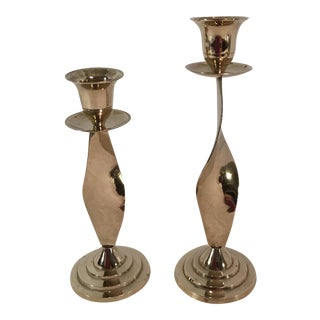 Vintage Swirl Stem Candlesticks - A Pair For Sale