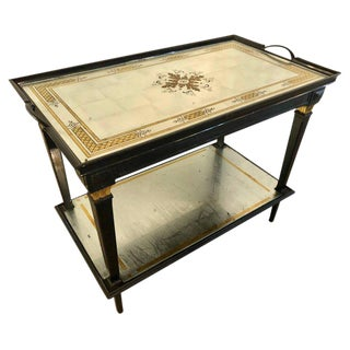 A Hollywood Regency Jansen Mirrored Serving Cart With an Eglomise Tray Top