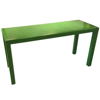 Faux Snakeskin Lime Green Console Table For Sale