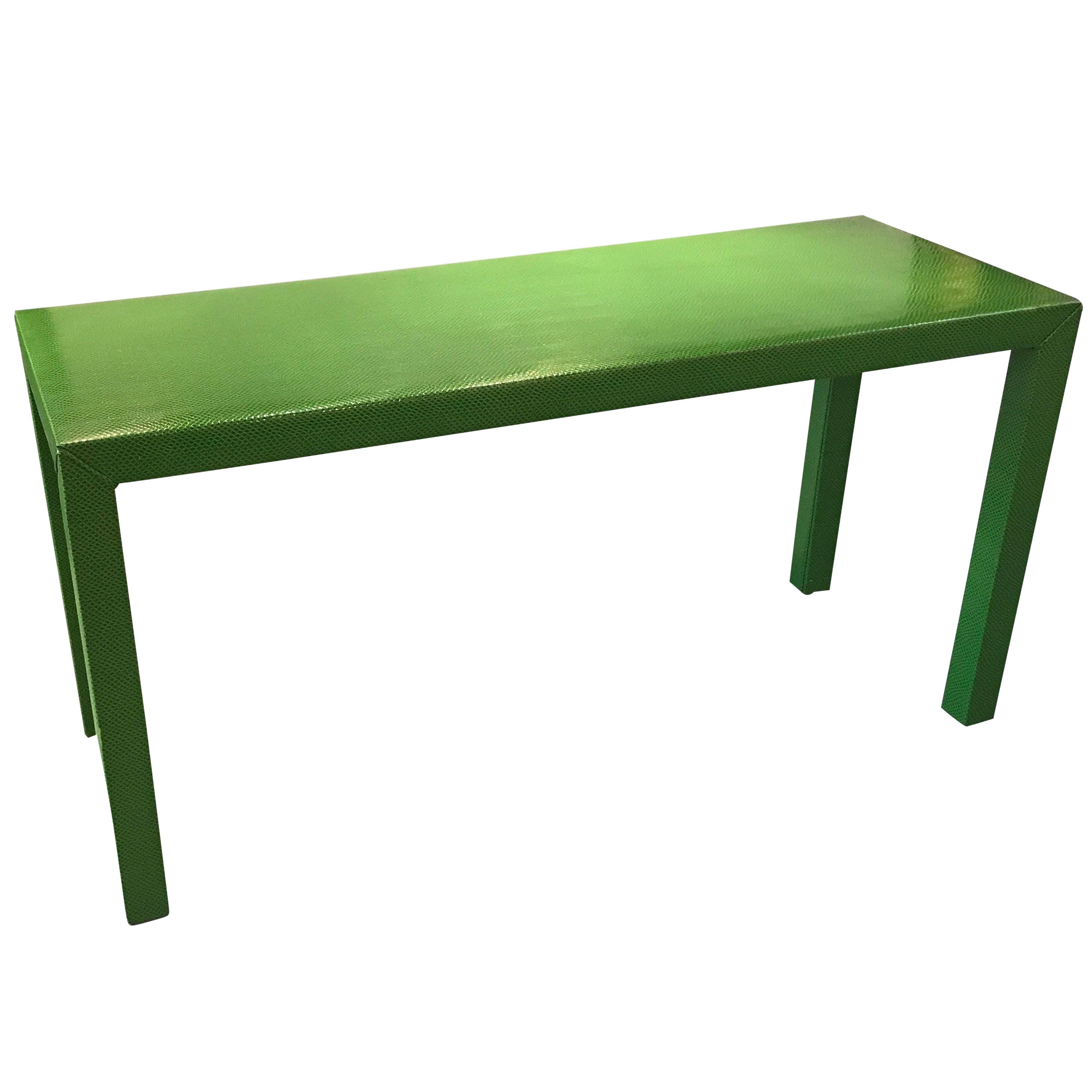 Faux Snakeskin Lime Green Console Table