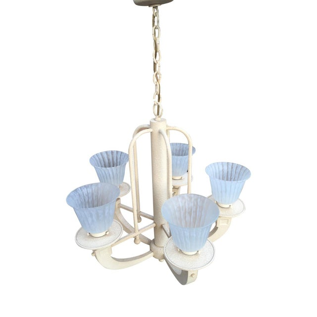 Neoclassical Vintage Fredrick Raymond Neoclassical Chandelier For Sale - Image 3 of 5