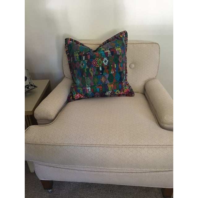 2010s Original Guatemalan Textile Cushion Case in Teal For Sale - Image 5 of 10