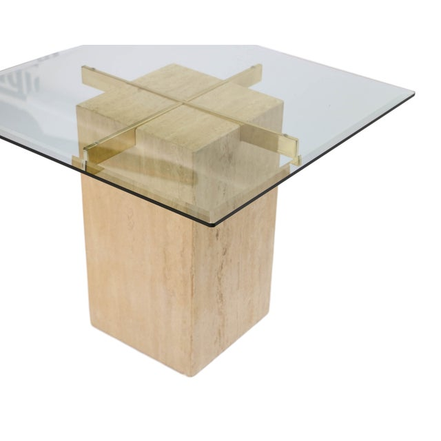 Travertine Brass & Glass End Table - Image 5 of 10