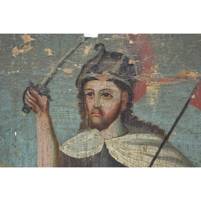 18th Century Spanish Colonial Folk Retablo of St. James the Moor-Slayer For Sale - Image 4 of 13