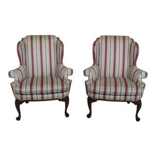 1990s Southwood Queen Anne Cherry Wing Back Chairs - a Pair