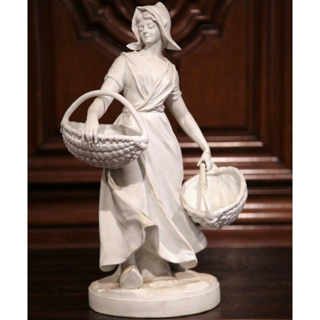 Lovely 19th Century French Woman Holding Wicker Baskets Biscuit Porcelain Sculpture Decaso