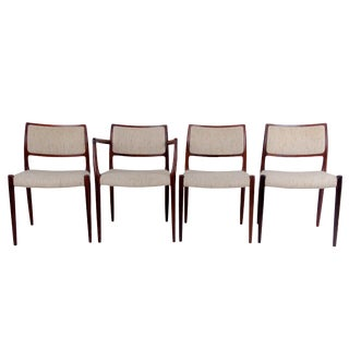 Niels Otto Møller Mod. 80 & 65 Leather Dining Chairs - Set of 4 For Sale