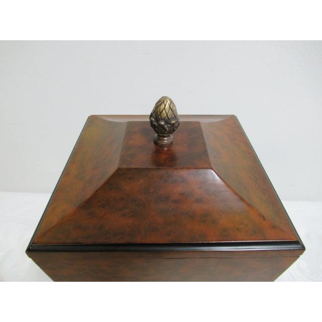 Modern Decorative Crafts Burlwood Tea Box For Sale - Image 4 of 13