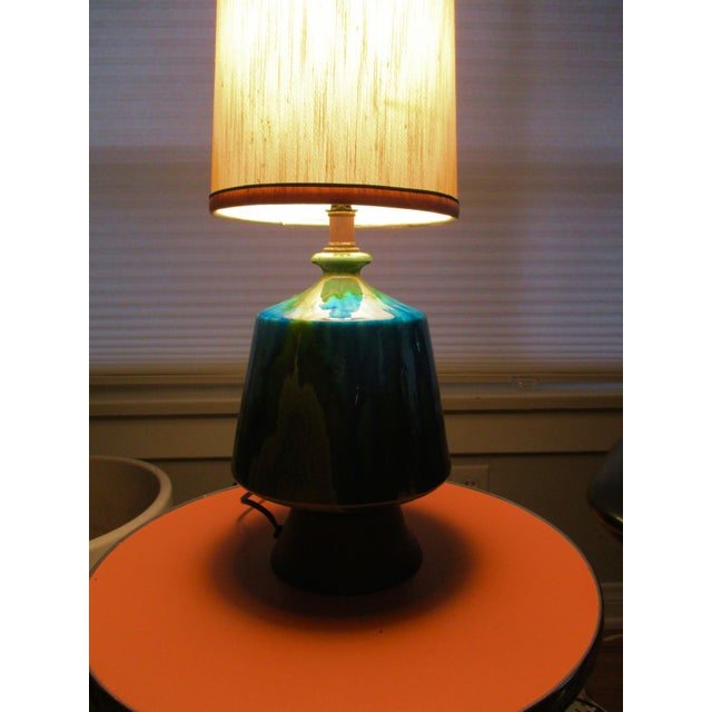 Mid-Century Modern Turquoise Ceramic Table Lamp - Image 11 of 11
