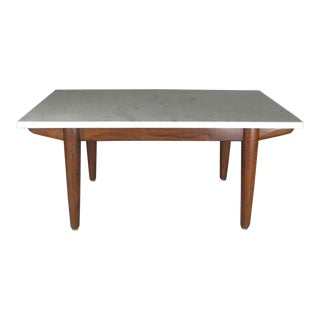 Vintage Italian Marble Top Oak Base Coffee Table For Sale