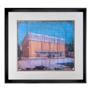 """Frank Lloyd Wright Lithograph Ltd Edition """"A. D. German Warehouse, Wisconsin"""" With Frame Included For Sale"""