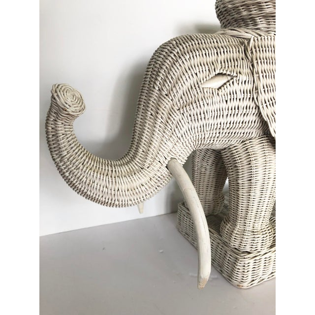 Late 20th Century Vintage Wicker Elephant Garden Stool Side Table For Sale - Image 5 of 13