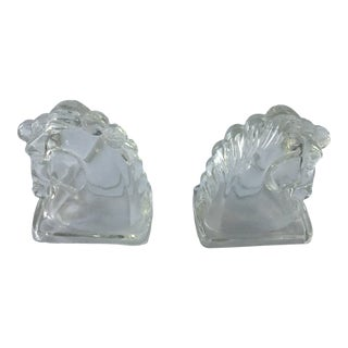Vintage Art Deco Federal Pressed Clear Glass Horse Head Bookends For Sale
