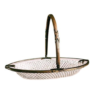 1950s Hollywood Regency White Porcelain Woven Basket