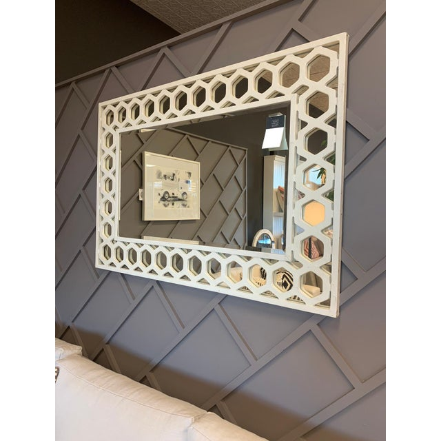 Transitional Angeline Rectangular Fretwork Mirror For Sale - Image 3 of 3