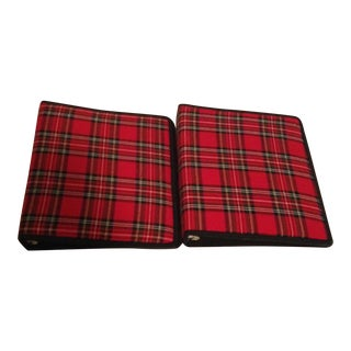 Red Plaid Book Binders - A Pair For Sale