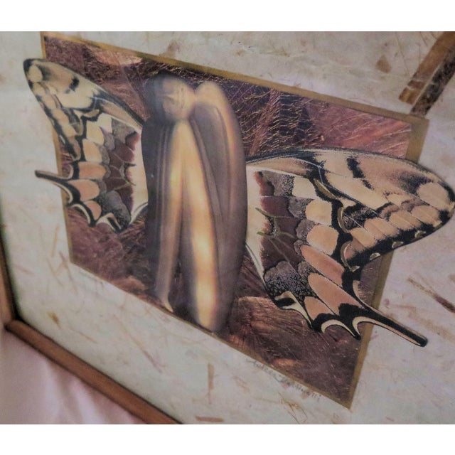 Abstract 1980's Butterfly Girl Painting For Sale - Image 3 of 4