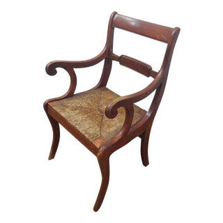 Vintage 20th Century French Country Armchair in Wood & Rush For Sale