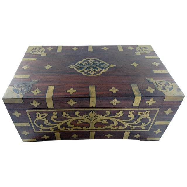 Vintage Brass and Rosewood Indian Chest - Image 1 of 9