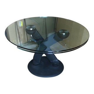 Italian Naos Hula Op Pedestal Metal & Glass Dining Table For Sale