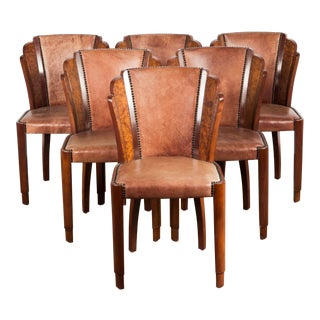 Art Deco Dining Chairs in Walnut Burl and Cognac Leather- Set of 6 For Sale
