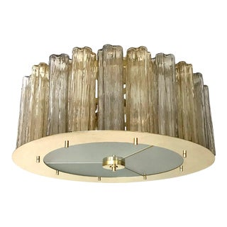 Italian Art Deco Style Crystal & Smoked Murano Glass Round Flush Mount on Brass For Sale