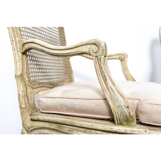 Pair French Louis XV Chairs With Caned Back & Seat For Sale In West Palm - Image 6 of 13