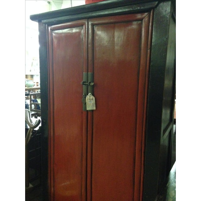 Asian Antique Chinese Red & Black Armoire For Sale - Image 3 of 8