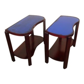 1940s Art Deco End Tables With Blue Glass - Pair For Sale