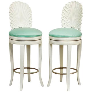 Pair of Lacquered Venetian Grotto Shell Back Barstools