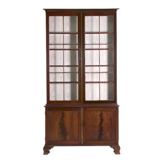 English George III Mahogany Bookcase Cabinet, England circa 1780