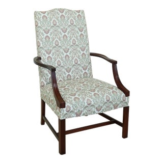 Hickory Chair Mahogany Upholstered Lolling Chair For Sale