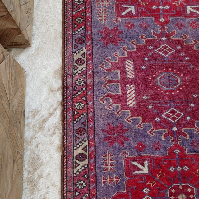 Textile Mid Century Pink and Purple Heriz Rug For Sale - Image 7 of 13