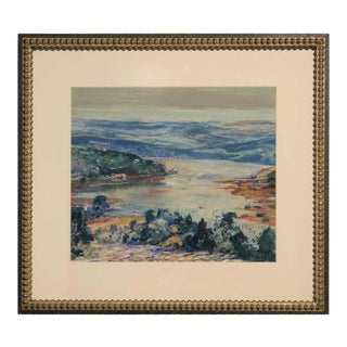1939 Naturalistic Style Texas River and Bridge Pastoral Country Landscape Painting by Raymond Everett, Framed For Sale