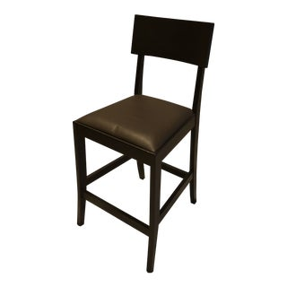 Crate & Barrel Leather & Wood Counter Stools - Set of 4