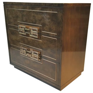 Stunning Burl Elm and Brass Three-Drawer Chest by Mastercraft For Sale
