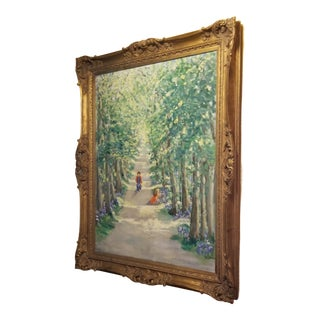 Late Mid Century Grand Impressionist Scenic Painting in Gorgeous Gilt Frame For Sale
