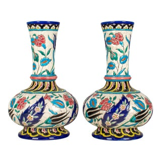 19th Century French Longwy Ceramic Vases - a Pair For Sale