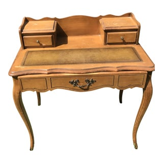 19th Century Antique Writing Desk Leather Inlaid