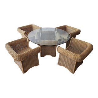 Vintage Arurog Wicker Dining Table and Chairs For Sale