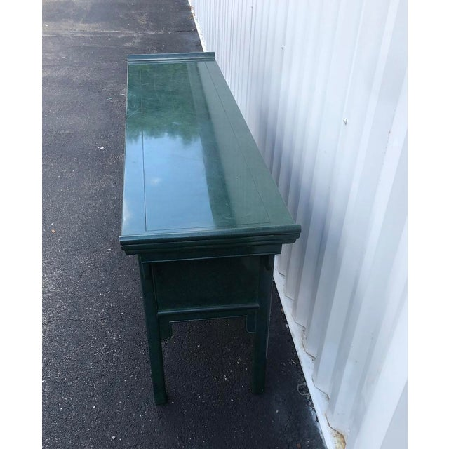 1970s Century Furniture Lacquered Green Malachite Pagoda Console For Sale - Image 5 of 12