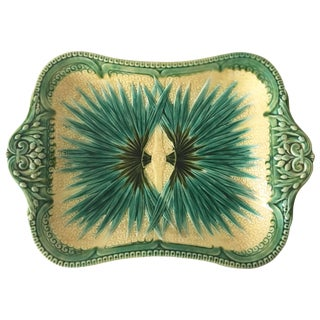 1870 Aesthetic Movement Sarreguemines Majolica Palm Platter For Sale