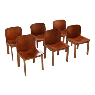 1970s Scarpa Cognac Leather Dining Chairs- Set of 6 For Sale