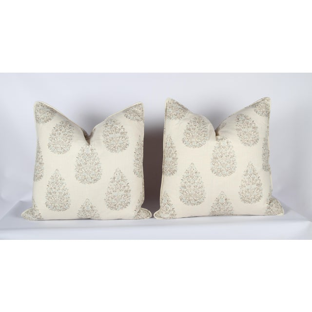 Custom Kedara Leaf Pillows - A Pair For Sale - Image 4 of 4